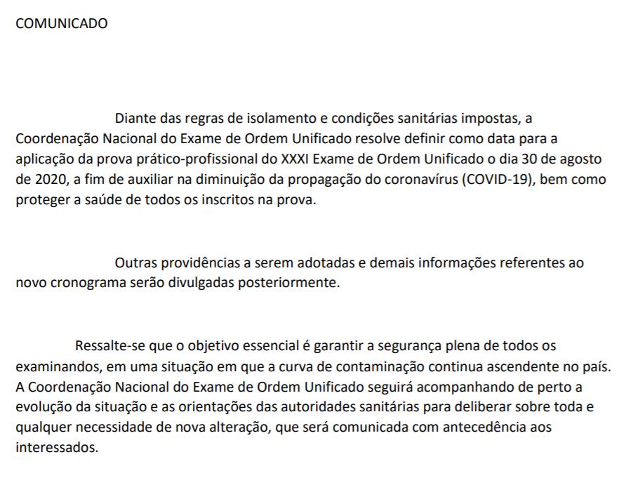 comunicado adiamento Exame OAB