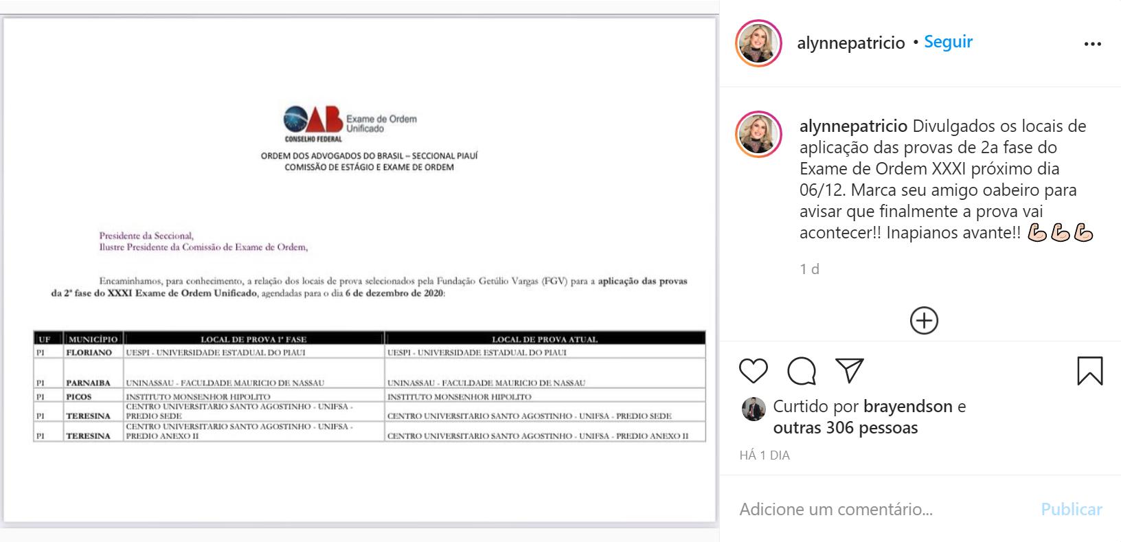 Locais de Prova de 2ª fase da OAB no Piauí