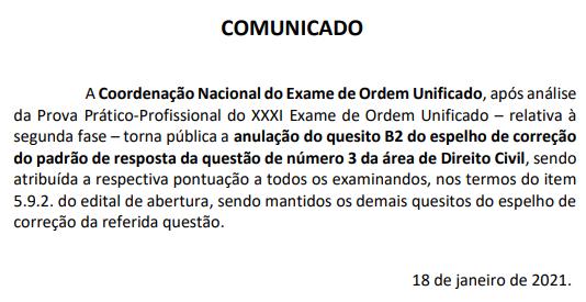 Comunicado OAB