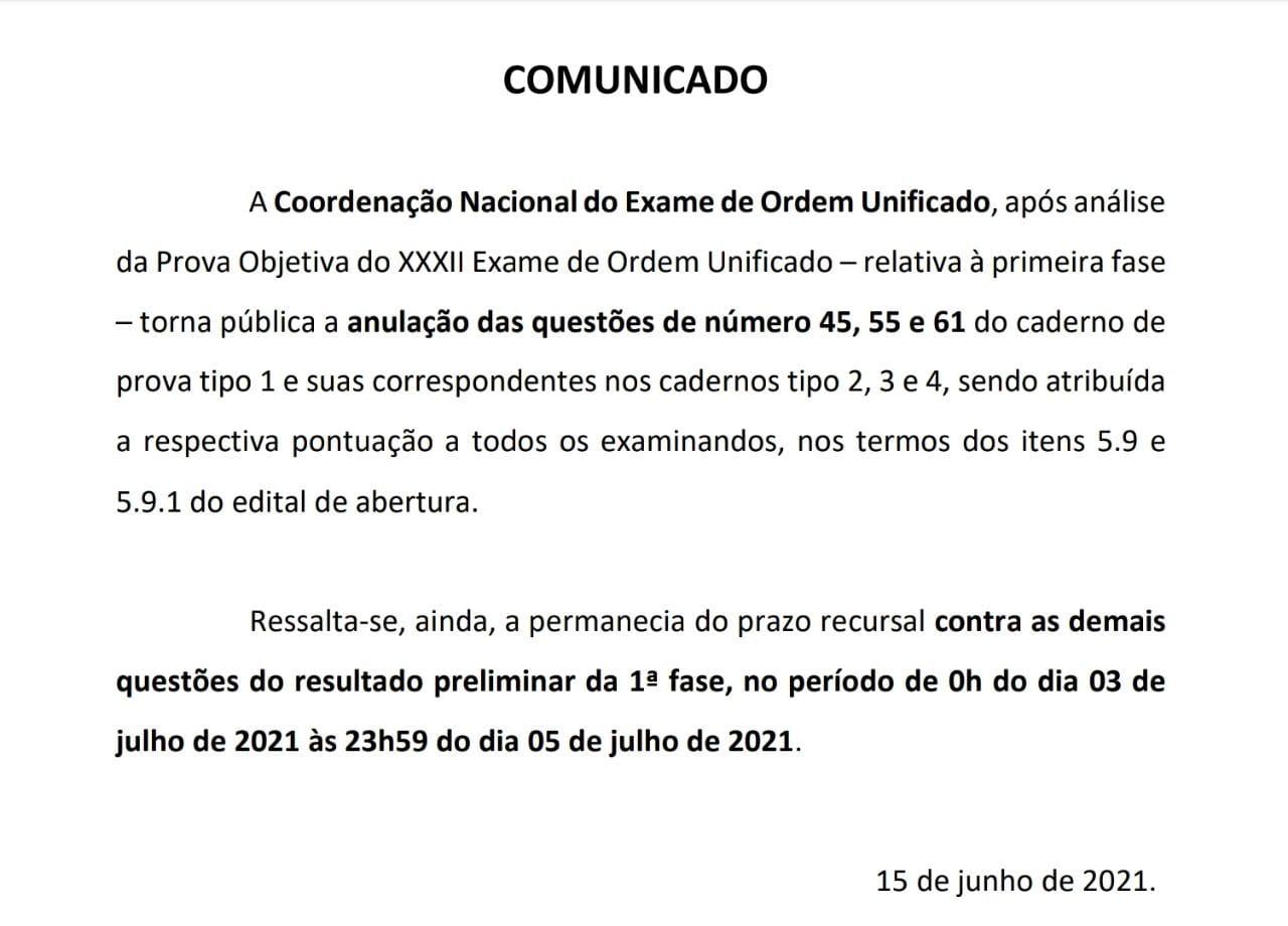 Questões anuladas no XXXII Exame de Ordem