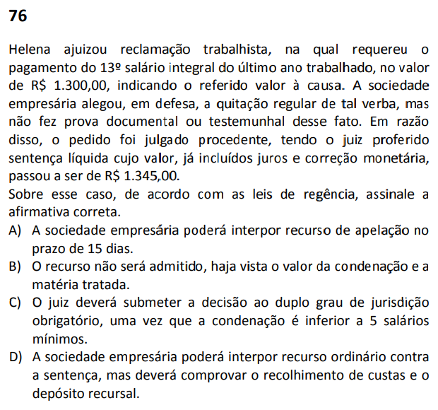 Questão 76 - Prova Tipo 2 (Verde) - XXXII Exame de Ordem